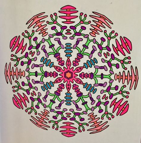 Mandala Colored With Neon And Fluorescent Gel Pens Coloring