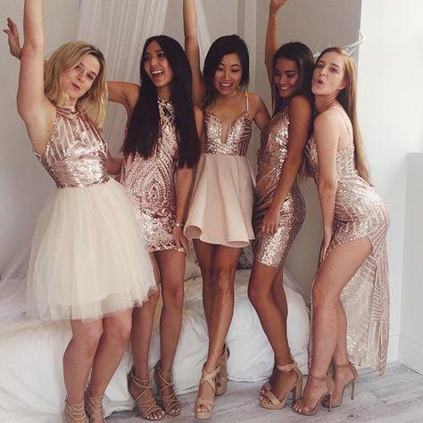 66e748fcc3f7c9 Born To Shine Dress In Rose Gold Sequin