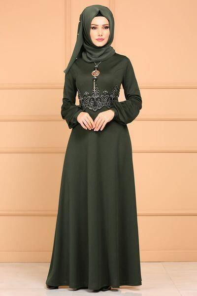 Modaselvim Abiye Gold Gupurlu Peplum Abiye 4912 Ay342 Haki Jilbab Cantik Kecantikan