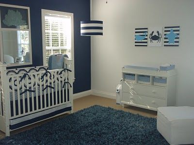 Navy Blue Nursery Almost Makes Me Want To Try For A Boy So I Can Do This Haha Favorite Places Es Pinterest Baby And