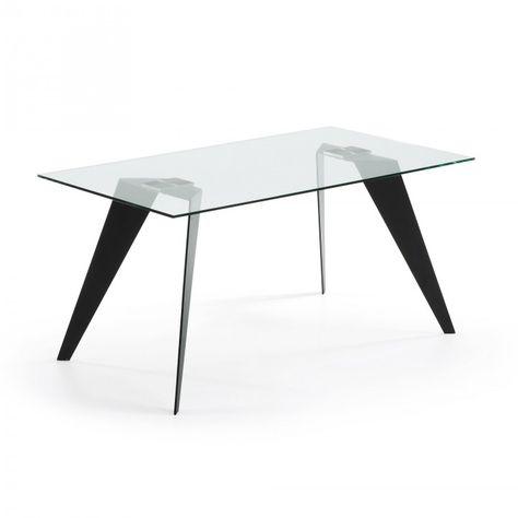 Table Avec Pieds En Acier Peint A L Epoxyde Et Plateau En Verre