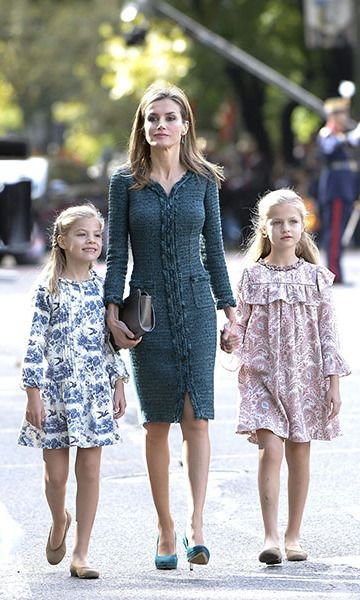 """Princess Leonor with her mother, Queen Letizia, and younger sister, Infanta Sofia, who was born in Leonor is already a fashion star and has been praised for her """"amazing style"""" since she was very young."""