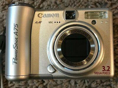 Canon Powershot A75 3 2mp Digital Camera Silver Parts Or Digital Camera Camera Powershot