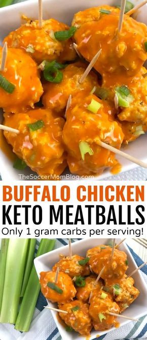 Keto Buffalo Chicken Meatballs - Only 1g net carbs!