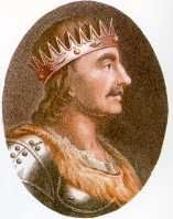 King Egbert (802-839).  House of Wessex. First recognized King of all of England. Queen Elizabeth II's 34th great-grandfather. During the late 8th century, when King Offa of Mercia ruled most of England, Egbert lived in exile at the court of Charlemagne. Egbert regained his kingdom in 802. Succeeded by son Aethelwulf, father of Alfred the Great.