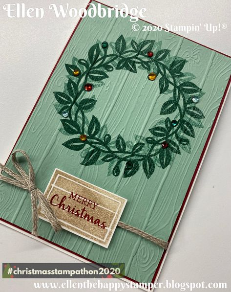 For the June Christmas Stampathon 2020 we have an Inspiration challenge. For my example I have made another Wreath Card with the Arrange a Wreath Stamp Set and with Pinewood 3D Embossing Folder along with Braided Linen Trim and Holiday Rhinestones. I kept this Wreath super simple by stamping then offset 2nd Generation stamping. 3d Cards, Folded Cards, Leaf Cards, Easel Cards, Stampin Up Christmas, Christmas Cards To Make, Prim Christmas, Paper Crafts Magazine, Anna Griffin Cards