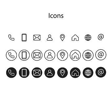 مجموعة أيقونات المعلومات من أنماط مختلفة هاتف أيقونة بطاقة Png والمتجهات للتحميل مجانا Business Card Icons Icon Set Icon