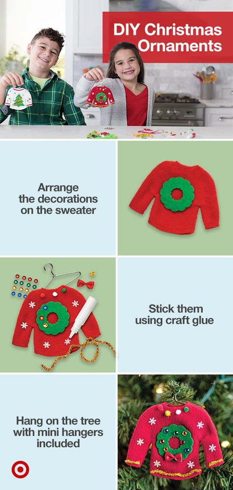Make your own tree ornaments with easy Christmas crafts for kids like a DIY holiday sweater ornament kit  other fun winter activities.