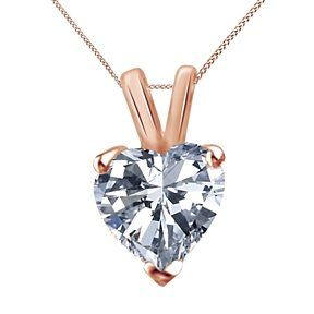 2 CARAT SOLITAIRE PENDANT NECKLACE HEART SHAPE SOLID 14K WHITE GOLD OVER