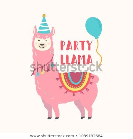 Happy Birthday Card With Cute Cartoon Llama Design With Images