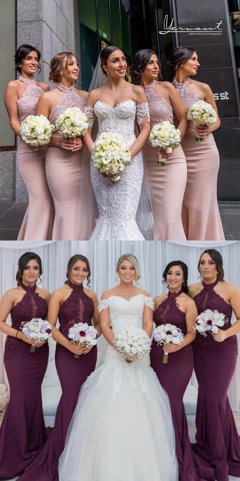 Elegant High Neck Pink Mermaid Bridesmaid Dress Party Dress from modseleystore is part of Bridesmaid dresses Long Bridesmaid Dresses, Pink Bridesmaid Dresses, 2018 Bridesmaid Dresses, Wedding Party -
