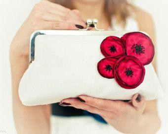 Ivory silk and  poppy flower...beautiful large wedding  purse