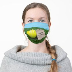 Tennis Ball With Blank Tag Happy Birthday Cloth Face Mask Zazzle Com In 2020 Funny Face Mask Face Mask Tennis Life