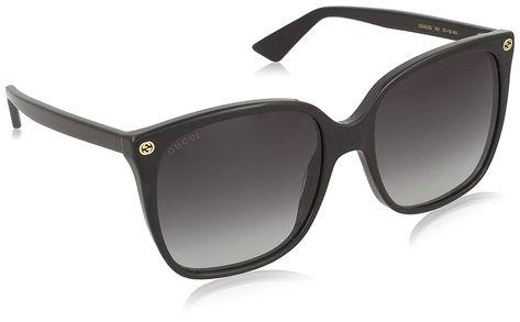 fd7df1e3df7  Gucci Women039 s GG0022S GG 0022 S 001 Black Gold Fashion Sunglasses 57mm