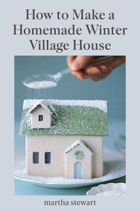 """Winter Village: Homemade House Finished with a sprinkling of glitter """"snow,"""" this little homemade house is ready to join its neighbors in a shimmering holiday village. Christmas Balls Diy, Christmas Paper, Christmas Projects, Holiday Crafts, Vintage Christmas, Merry Christmas, Christmas Mantles, Silver Christmas, Victorian Christmas"""