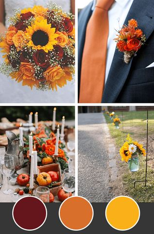 10 Wedding Color Palettes for Fall October Wedding Colors, Fall Wedding Colors, Wedding Color Schemes, Wedding Ideas For Fall, Orange Wedding Colors, Autumn Wedding Themes, Autumn Wedding Ideas October, Wedding Colora, Wedding Color Palettes