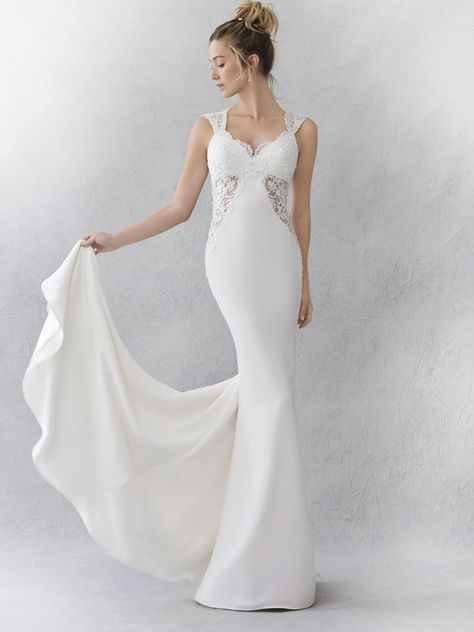 2116aa8ceb929 Ella Rosa Style BE354 | gorgeous crepe gown with lace inserts and scalloped  keyhole back | romantic wedding dress | bridal gown #luxebride ...