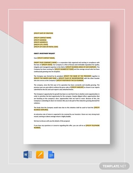 Letter Of Request For An Equity Investment Lettering