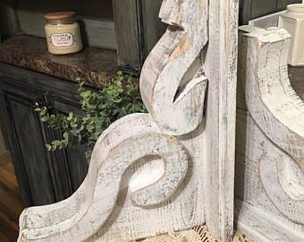 Corbels White Distressed Chunky Rustic Wooden Corbel For Mantles Shelves Doorways Vintage Look Hand Made Corbels Wooden Corbels Wooden