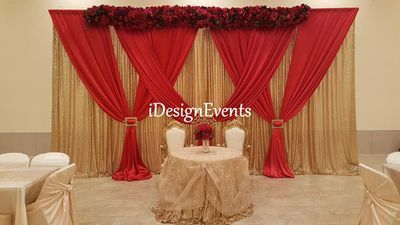 Gold Glitz Backdrop With Red Burgundy Marsala Draping Main Table