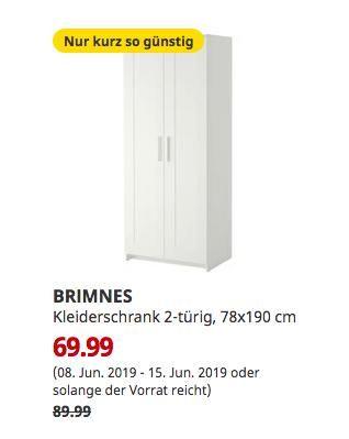 Ikea Duisburg Brimnes Kleiderschrank 2 Turig Weiss 78x190 Cm