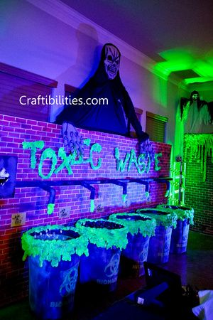Glowing Drink Station Black Lights Bio Hazard Props Halloween Party Theme Back Drop Oo Zombie Halloween Party Halloween Party Themes Glow Halloween