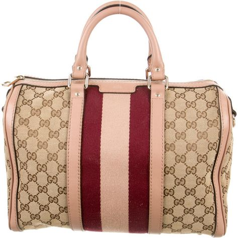 Pre Owned Gucci Gg Web Boston Bag 725 Liked On