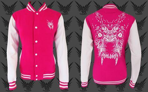 College jacke schwarz pink
