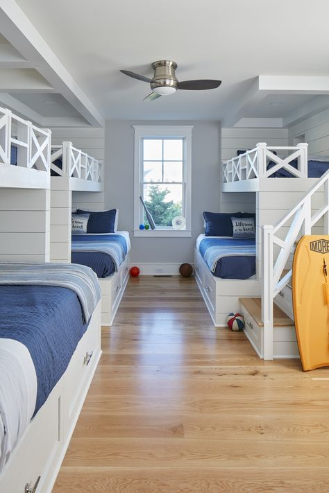 43 Nautical Bedroom Ideas That Will Bring Out The Sailor In You - Home Decor Bliss Beach House Bedroom, Beach House Decor, Home Bedroom, Beach House Lighting, Bedroom Ideas, Girls Bedroom, Bunk Bed Rooms, Bunk Beds Built In, Four Bunk Beds