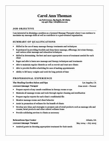 Pin On Example Massage Therapist Resume Template