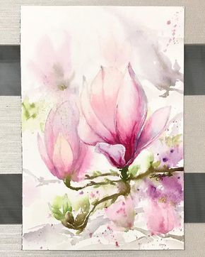 Another magnolia #magnolia #watercolor #watercolour #watercolours #waterblog #watercolorpainting #watercolorillustration #watercolorart…