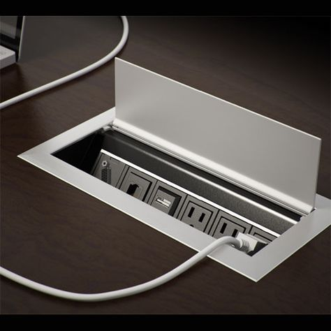 Ellora #Power & #Data Box for #Table & #Desk - Adds a smooth, professional look to any table while offering power and data connections. Find out more at CableOrganizer.com!