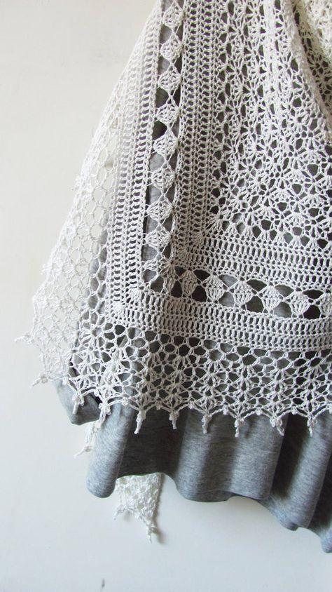 Crochet Cotton Shawl White Summer Shawl Hand Knit Lace | Etsy