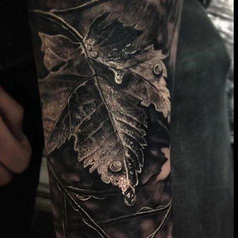 100 Realistic Tattoos For Men – Realism Design Ideas Brilliant Grey Colored Leaf And Dew Drop Realism Tattoo Mens Sleeve
