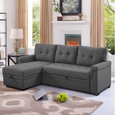 Ebern Designs Whitby Reversible Sleeper Sectional Upholstery Colour Steel Grey Sleeper Sectional Sectional Sofa Sectional Sleeper Sofa