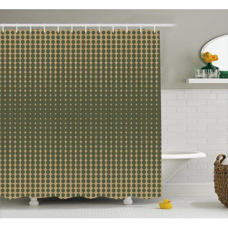 Olive Green Shower Curtain Abstract Dotted Halftone Design
