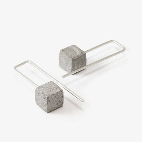 Architectural Earrings Concrete Earrings Concrete And Silver Earrings Concrete Jewelry Minimalistic Earrings Long Earrings - Judith Marie - Dekoration