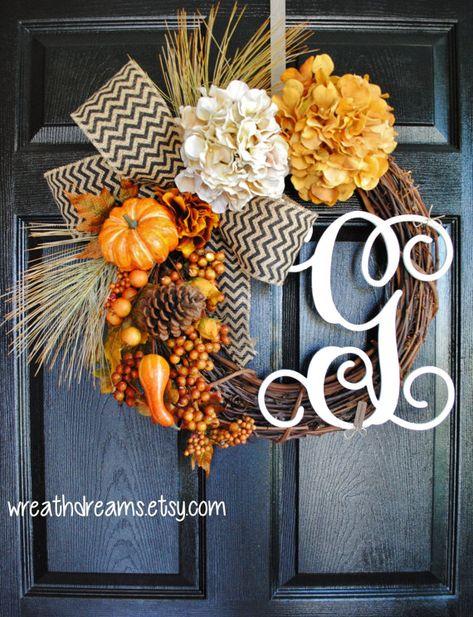 Fall Monogram Grapevine Wreath with Burlap. Fall Wreath. Autumn Wreath. Summer Wreath. Housewarming, Wedding, Mother's Day. Monogram Wreath.