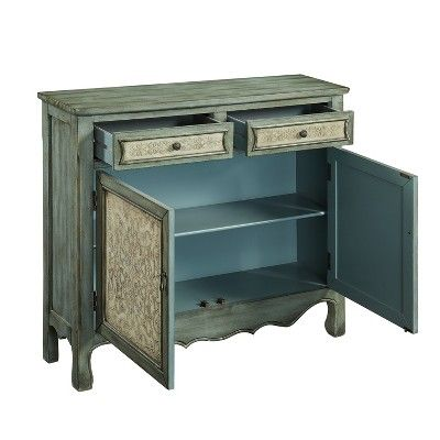 Duncan Cabinet Console Table Antique Blue Powell Company