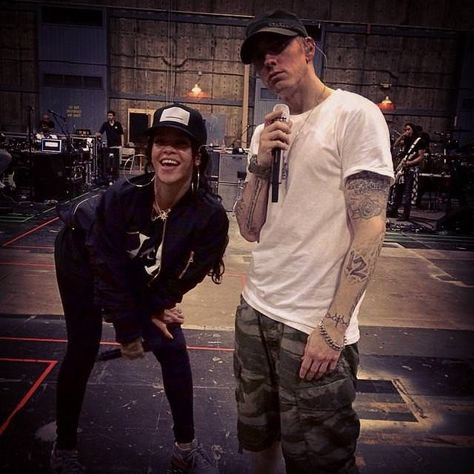 Rihanna In Fear Of God Bomber Jacket Haus Of Rihanna Eminem Rihanna Eminem Eminem Slim Shady