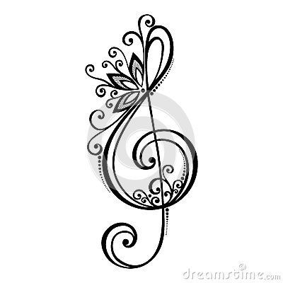 Vector Floral Decorative Treble Clef #trebleclef Vector Floral Decorative Treble Clef