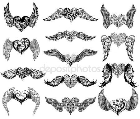 Hearts With Wings Tattoo Set Stock Illustration Heart With Wings Tattoo Wings Tattoo Angel Wings Tattoo