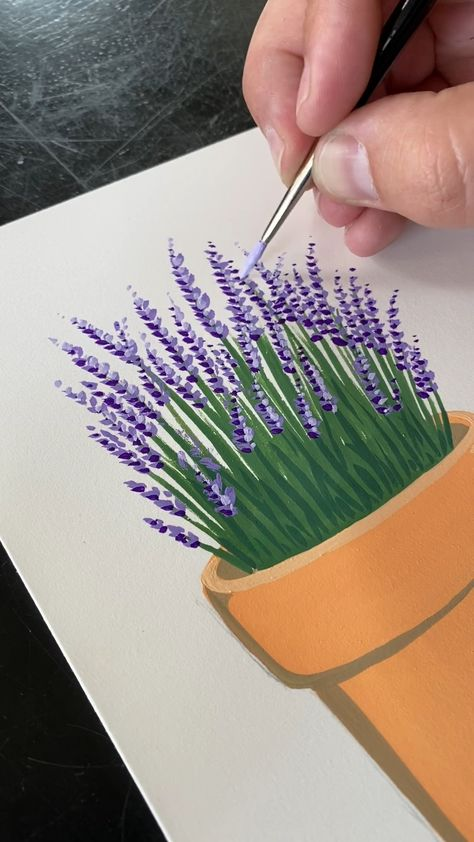 🎨 Follow the 4 minute version on my YouTube channel! Super fun and easy way to paint a potted lavender potted plant.