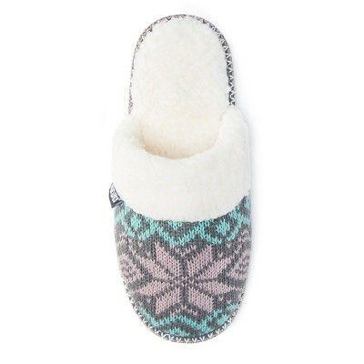 Women's Muk Luks Fair Isle Knit Scuff Slide Slippers - Gray/Teal ...