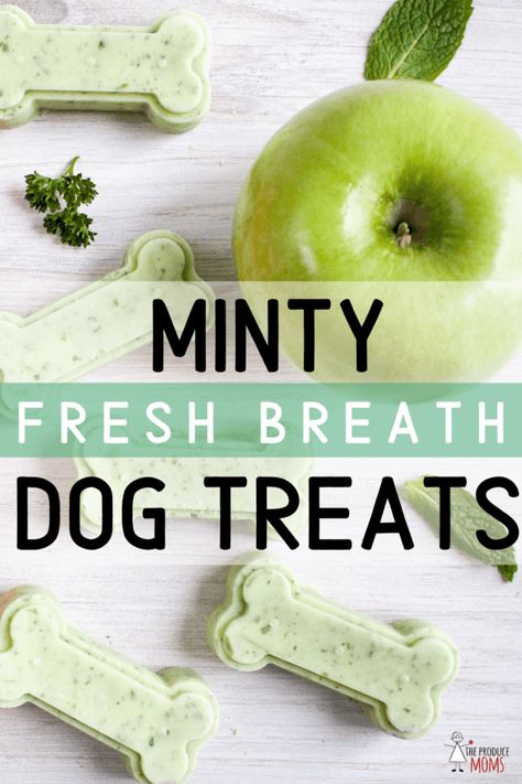 Minty Fresh Breath Dog Treats - The Produce Moms Best Picture For Dog Supplies bag For Your Taste Yo Puppy Treats, Diy Dog Treats, Healthy Dog Treats, Treats For Puppies, Dental Treats For Dogs, Best Treats For Dogs, Pumpkin Dog Treats, Puppy Food, Healthy Teeth