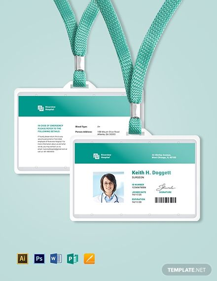 Hospital Id Card Template Free Pdf Word Psd Apple Pages Illustrator Publisher Id Card Template Employees Card Identity Card Design