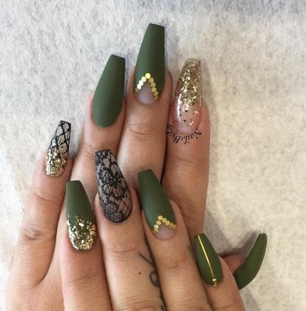 Olive green nails in 2020