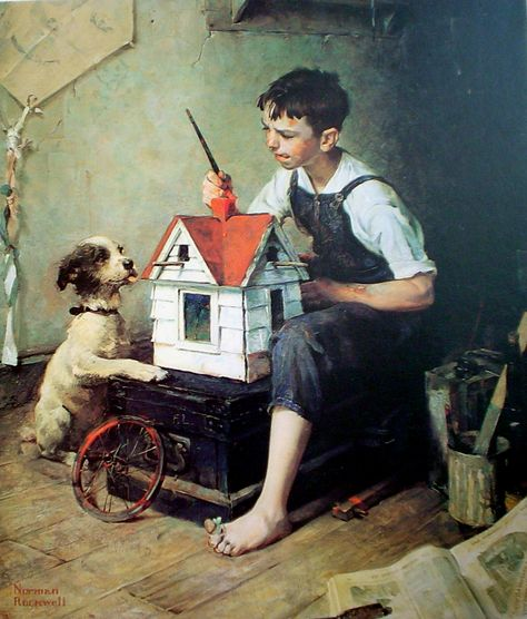 Painting The Little House By Norman Rockwell Offset Lithograph Fine Art Print
