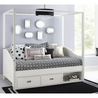 Corner Post Daybed With Storage Unit And Canopy Daybed With