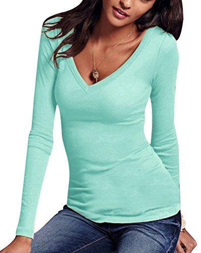 932e97c8a9c2 Camisetas Ajustadas Cuello V Manga Larga Mujer Camiseta Interior ...